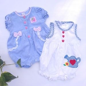 Vintage • baby girl bubble rompers, 3-6 mo